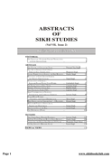 Abstracts Of Sikh Studies 7 Issue 2
