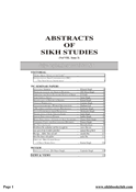 Abstracts Of Sikh Studies 8 Issue 3