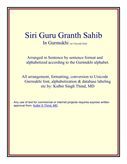 Alphabetized SBS SGGS with Page Line Gurmukhi