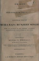 ORIGN OF SIKH POWER By Henry Thoby Prinsep