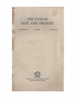 The Punjab Past and Present Vol XXVII Part I