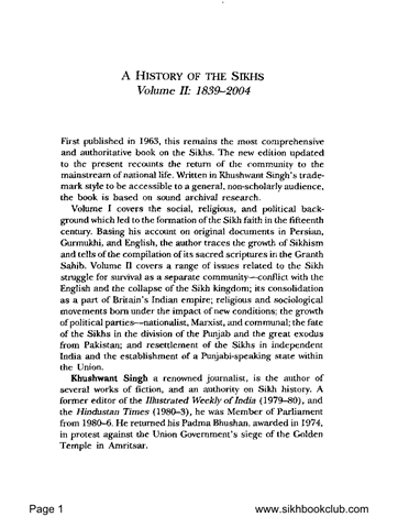 A History of the Sikhs Second Edition Volume 2