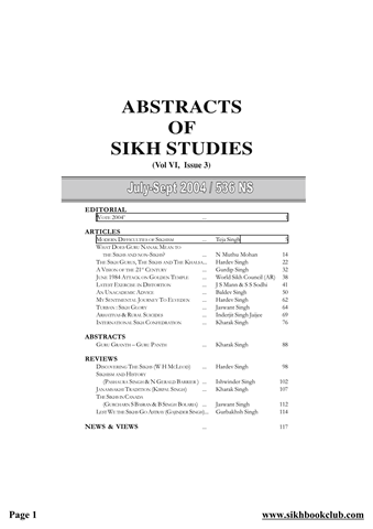 Abstracts Of Sikh Studies 6 Issue 3