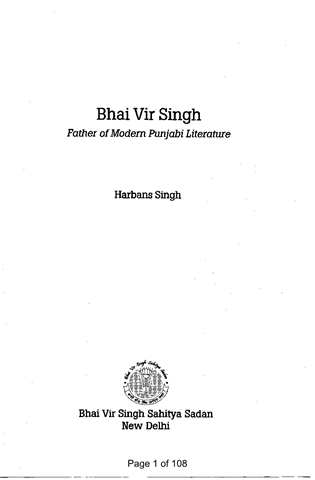 Bhai Vir Singh Father of Modern Punjabi Literature