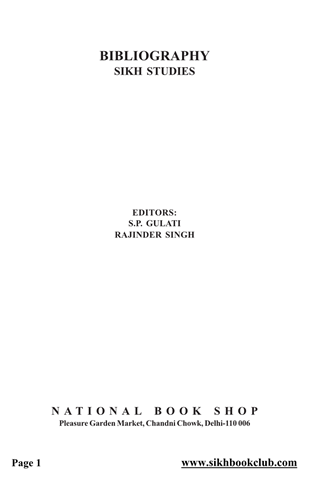 Bibliography of Sikh Studies