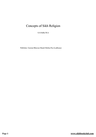Concept of Sikh Religion