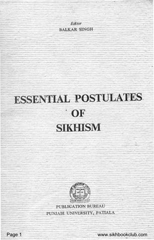 Essential Postulates of Sikhism