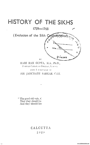 History Of The Sikhs 1739 To 1768