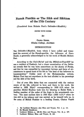 Nanak Panthis or The Sikhs and Sikhism of the 17th Century By Dr Ganda Singh