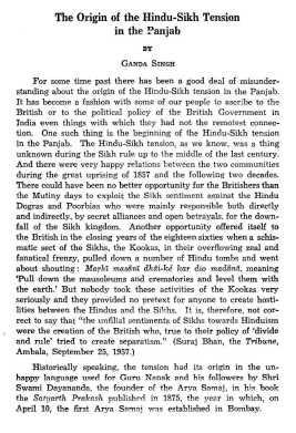 The Origin of the hindu Sikh Tension in The Punjab By Dr Ganda Singh