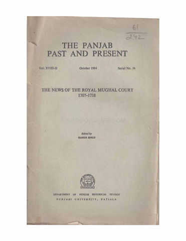 The Punjab Past and Present Vol XVIII Part II