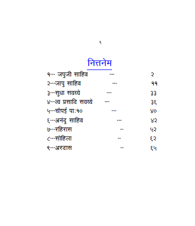 Nittnem Gurbani in Hindi