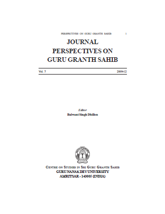 JOURNAL PERSPECTIVES ON GURU GRANTH SAHIB VOL 7 By Balwant Singh Dhillon
